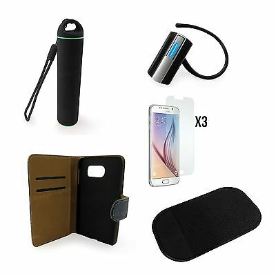 Accessories Bundle Bluetooth Headset Case Cover Power Bank for Samsung Galaxy S6