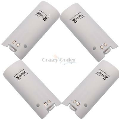 4pcs 2800mAh Rechargeable Battery Pack For Nintendo Wii Remote Controller White