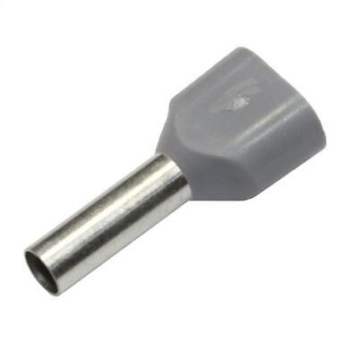 100x Twin Bootlace Ferrules 2 x 4,0mm² / 12mm grey ; Double End Terminals ; 4mm²
