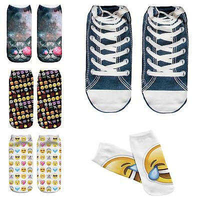 Kukubird New Summer Range Various Emoji Alien Galaxy Print Pattern Short Socks