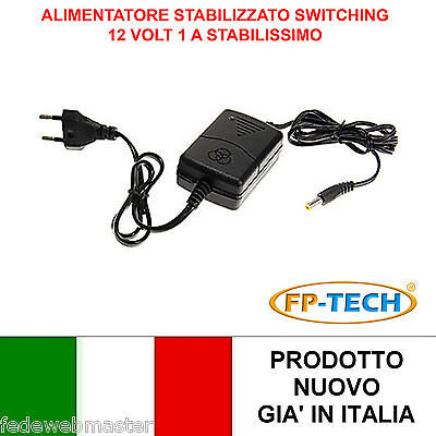 Alimentatore Trasformatore 220V 12V 1A Stabilizzato Switch Trimmer Led Video