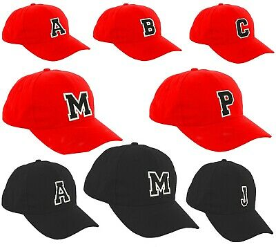 Children School RED Baseball Cap Boy Girl Snapback Kids Hat Letters A-Z Black LA