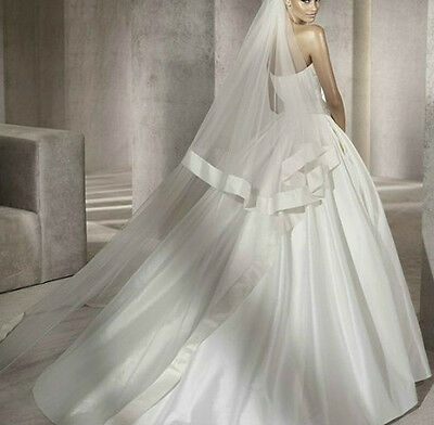 2T Ivory White Bridal Veils Cathedral Length Satin Edge Wedding Veil With Comb