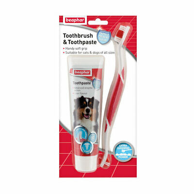 Beaphar Dental Kit Toothpaste and Double Ended Toothbrush for Dogs or Cats
