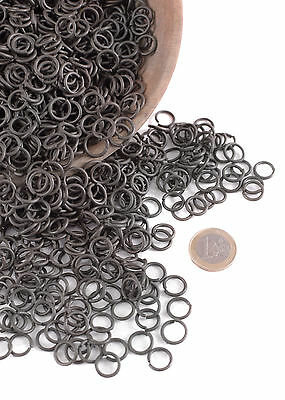 1 kg package loose chain mail rings, ID8mm, blackened - chainmail