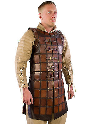 Leather Brigandine, Brown, LARP Leather Armour Viking Scale Medieval Reenactment