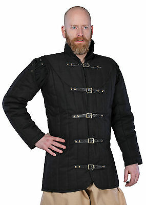 Gambeson Warrior, black, LARP Clothing Medieval Armour Padded Jacket
