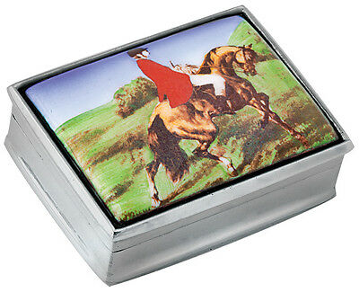 Fox Hunting Picture Pillbox  925 Sterling Silver  Hallmarked From Ari D Norman