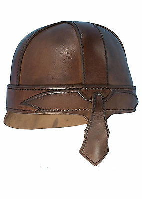 Warrior Helmet, Brown Leather, LARP Reenactment Light Infantry