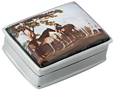 Horses Picture Pillbox  925 Sterling Silver  Hallmarked New From Ari D Norman
