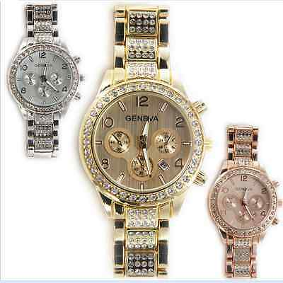 Fashion Crystal Date Women Lady Bangle Analog Quartz Stainless Steel Wrist Watch