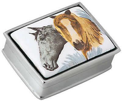 Two Horses Picture Pillbox  925 Sterling Silver New Hallmarked From Ari D Norman