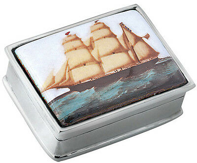 Ship Picture Pillbox  925 Sterling Silver New Hallmarked From Ari D Norman