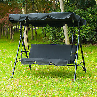 3 Seater Black Swing Chair Patio Hammock Garden  Outdoor Cushioned Adjustable
