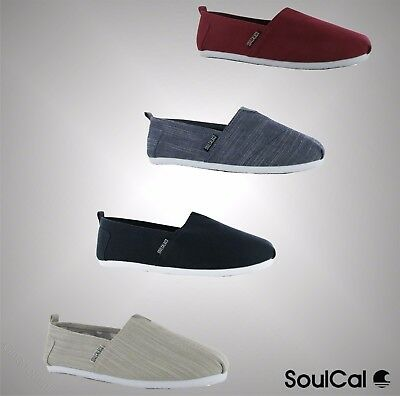 Mens SoulCal Summer Long Beach Canvas Slip Ons Shoes Sizes UK 7 8 9 10 11