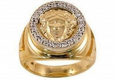 10K Men's Designer Gold Ring - Real 2-Tone Gold with Stones *NEW with Box*
