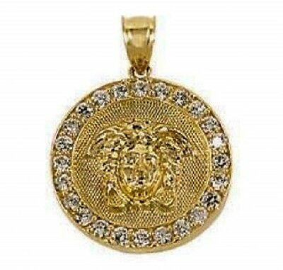 "10K Solid Gold 3/4"" Versace Style Medallion Pendant w/ Stones *New in Box*"