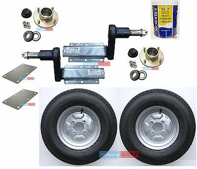 "550Kg trailer suspension units with hubs 10"" 4PR wheels plates grease - set 8"