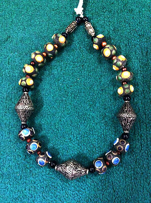 1900S Egyptian Roman Glass Necklace Old Magic Bead Stone Strongmen Power
