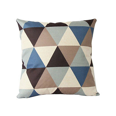 Vintage Linen Pillow Case Sofa Bed Throw Cushion Cover Home Decor Blue Rhombus