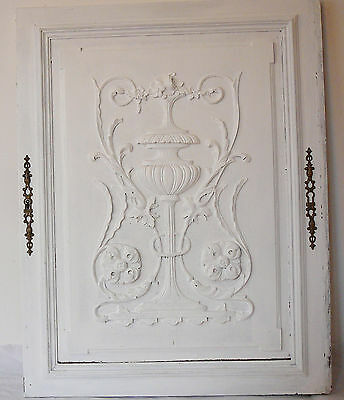 French antique   wood  panel carved shabby
