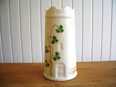 Donegal Parian China Vase - Hand Painted Shamrocks on a Turreted Tower