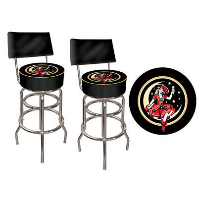 Miller Beer Girl In The Moon Bar Stool Set With Back