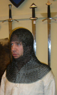 Chainmail coif full mantle square face, butted ID 8mm, blackened - chain mail