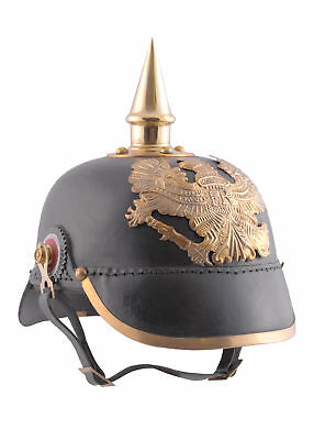 Prussian Pickelhaube, Infantory 1889, leather and brass, Helmet LARP Reenactment