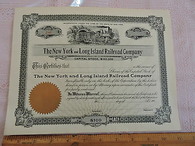 Very Rare   1900s Stock Certificate: New York & Long Island NYLIRR Railroad Co,