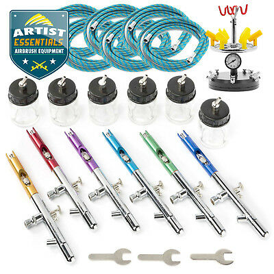6 X Dual Action Airbrush Gun Set with Case and Hoses Crafts Hobby Art