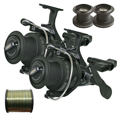 2 NEW NGT XS9000 Carp Runner Big Pit Long Cast Fishing Reel+S/Spools & Camo Line