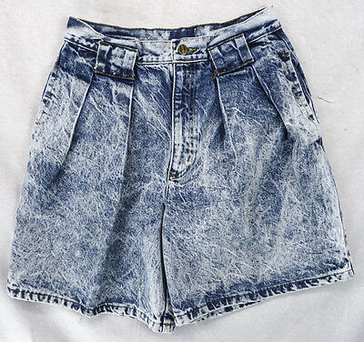 Vintage 80s Palmettos Acid Wash Denim SHORTS 8/10 M Jorts High Waisted Wide Leg