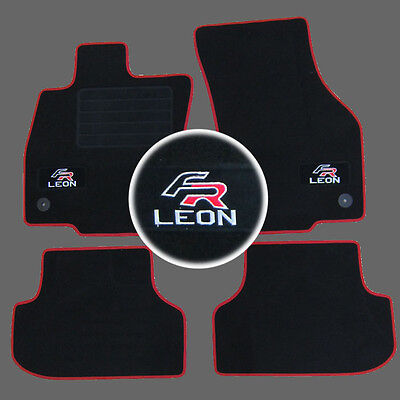 4 Tapis Sol Moquette Logo Fr Rouge Specifique Seat Leon 3 5F Berline Break 2012-