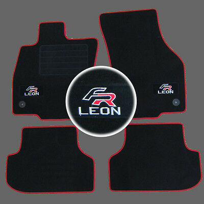 4 Tapis Sol Seat Leon 3 5F Berline Break 2012- Moquette Logo Fr Rouge Specifique