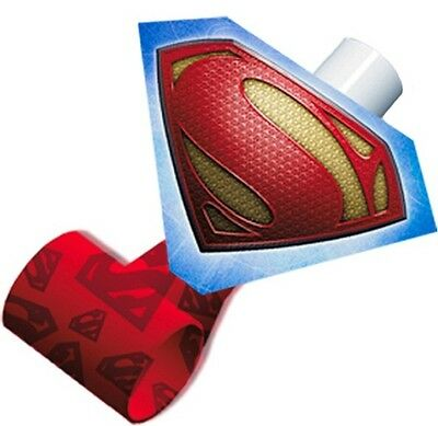 SUPERMAN Man of Steel ~ (8) Party Blowouts ~ Birthday Party Decorations