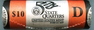 """2007-D Wyoming State Quarter Unopened """"Beautiful"""" Orange US Mint Coin Roll"""