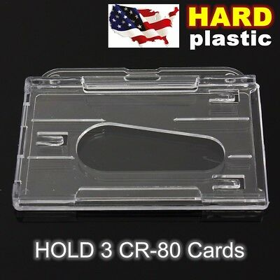 Horizontal Hard Plastic Transparent Clear Badge Holder Card ID Cover Case New