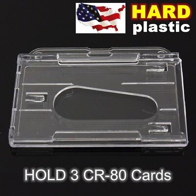 Vertical/Horizontal Hard Plastic Transparent Clear Badge Holder Card ID Cover