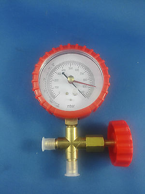 ANALOGUE  VACUUM GAUGE REFRIGERATION GAUGE 3 INCH DIAMETER + VALVE 10micron
