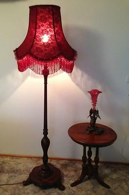 Lovely New Vintage Style  Hand Crafted Wine Colored Lace  Shade For Floor Lamp