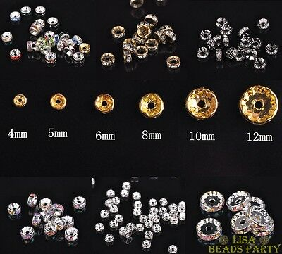 Wholesale Lot Czech Crystal Rhinestone Rondelle Spacer Beads 4/5/6/8/10/12mm