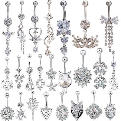 Belly Bar Dangle Reverse Clear Crystal Body Piercing Belly Bars Navel Rings UK