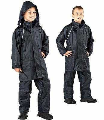 Boys Girls Childrens Waterproof Rain Suit Jacket Coat Trousers Pants Age 5 12