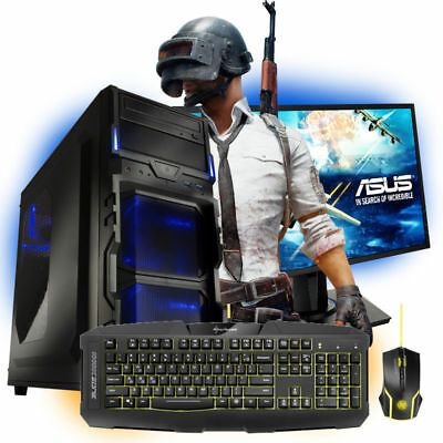 "Gamer PC Quad Computer GAMER A8 9600 4x 8GB Ram 1TB 24"" Asus Windows 10 W-Lan"