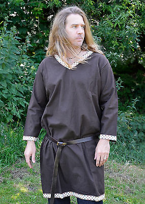 Viking Tunic from Cotton, dark brown - medieval - living history - LARP