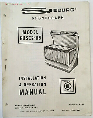 Jukebox Manual Seeburg Installation & Operation Model Eusc2-H5