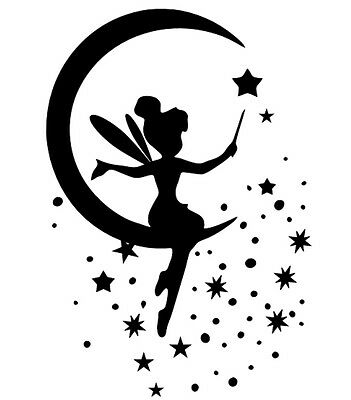 Fairy sitting on moon Stencil Template Scrapbooking Wall art card making NEW