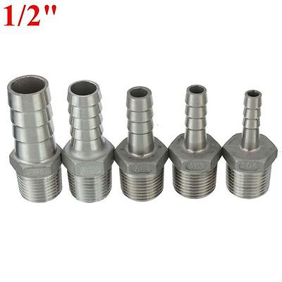 "1/2""Male Thread Pipe Fitting x Barb Hose Tail Connector Stainless Steel NPT b3"