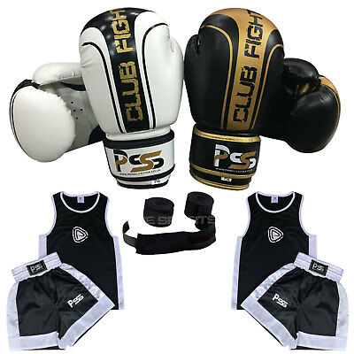 1006 Kids Boxing Uniform Set of 3 Pieces Uniform (3-14 Y) Gloves 4-6 OZ + Wraps